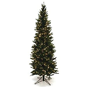 Good Tidings Oregon Pine Artificial Prelit Christmas Tree, Clear Lights 111