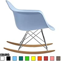 2xhome - Blue - Eames Style Molded Modern Plastic Armchair – Contemporary Accent Retro Rocker Chrome Steel Eiffel Base - Ash Wood Rockers - Rocking Mid Century Style Lounge Chair - Matte Finish