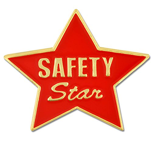 (PinMart Red and Gold Safety Star Award Enamel Lapel Pin)