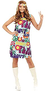 b8b6ea7d631 Groovy Hippie Ladies Fancy Dress 1970s 70s Peace Hippy Womens Adults Costume  New (Large UK