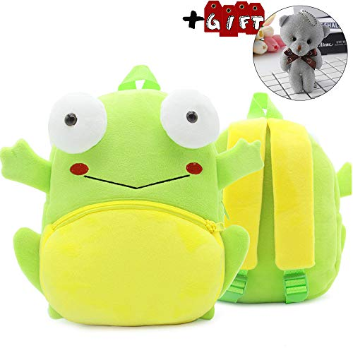 - Cute Toddler Backpack Toddler Bag Plush Animal Cartoon Mini Travel Bag for Baby Girl Boy 1-4 Years(Frog)