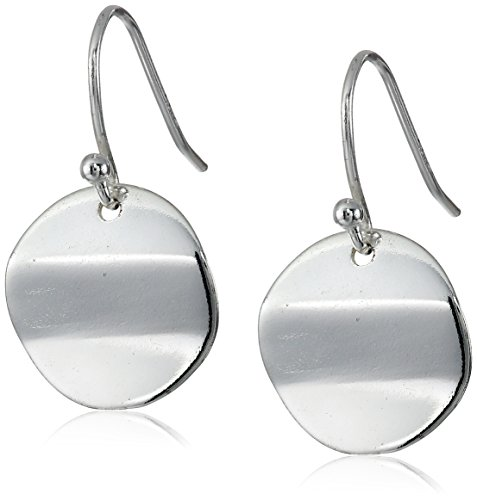 Sterling Silver Polished Circle Drop French Wire Earrings