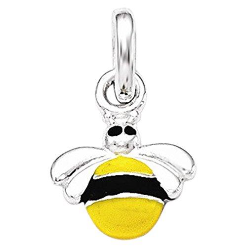 (.925 Sterling Silver Children's Yellow/Black Enameled Bee Charm Pendant)
