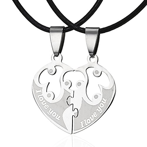 - RINHOO FRIENDSHIP Fashion Stainless Steel Broken Heart Hollow Out Lettering His And Hers Pendant Necklace For Couples Valentine's Day Gift (style 4)