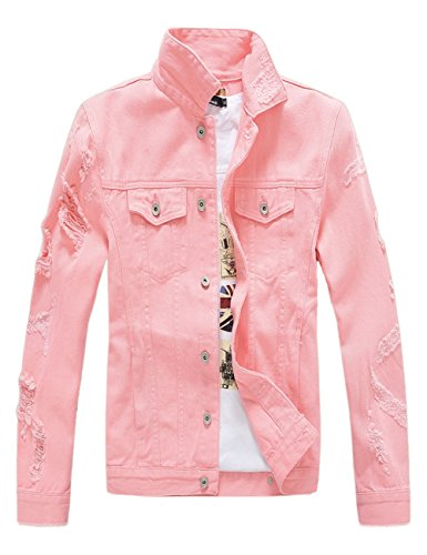 DSDZ Men`s Classic Ripped Hip Hop Motorcycle Denim Jacket Pink US L