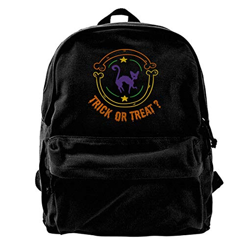 Classic Canvas Backpack Trick Or Treat Halloween Black Cat Unique Print Style,Fits 14 Inch Laptop,Durable,Black]()