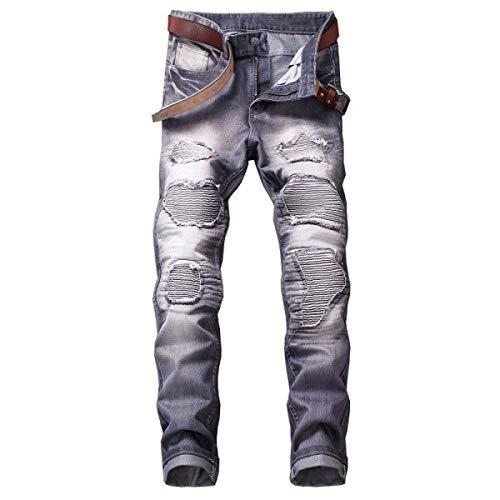 Senza Pantaloni Slim A Grey Da Strappati Casual Vita Fit Uomo Cintura Jeans Moto Media Distrutti q47rqn
