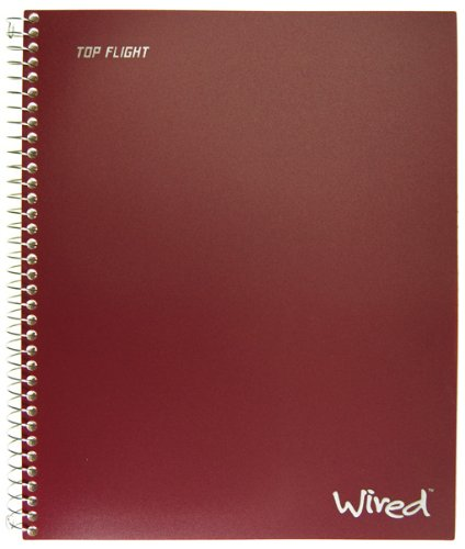 Top Flight Wired 1-Subject Wirebound Notebook with 2 Pockets, 100 Sheets, College (Wirebound Rule)