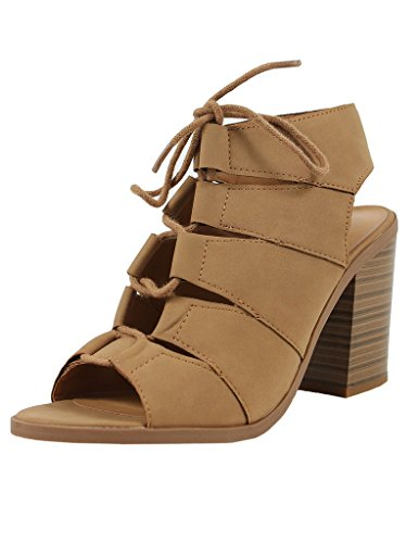 Quince Slingback Open Faux Toe Back Lace Leather Boot Gladiator Ankle Tan Soda Peep Up Women's Zanqxfw5g