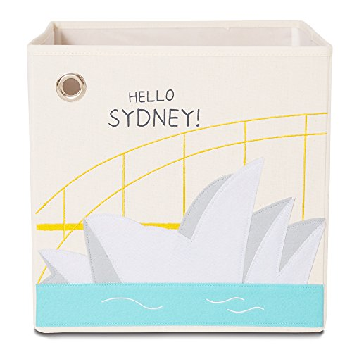Storage Box by kaikai & ash, Canvas Foldable Toy Bin, Travel Theme Decor Perfect for Kids Rooms and Baby Nursery