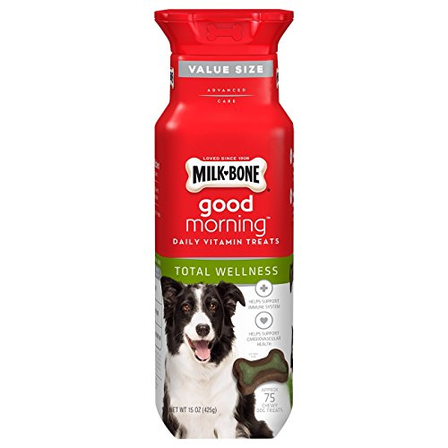 Biscuits Dog Glucosamine (Milk-Bone Good Morning Daily Vitamin Dog Treats, Total Wellness,15-Ounce Bottles)