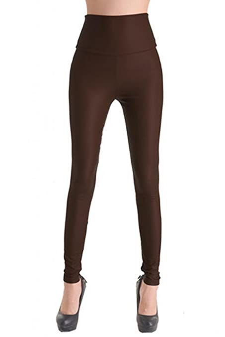 Lotsyle Women's High Waist Faux Leather Leggings - clothes under ten dollars
