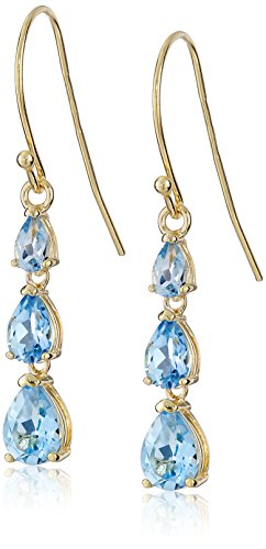 18k Yellow Gold Plated Sterling Silver Pear Cut Baby Swiss Blue Topaz Linear Dangle Earrings (Swiss Gold 18k)