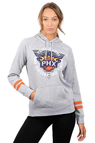 (NBA Phoenix Suns Women's Fleece Hoodie Pullover Sweatshirt Varsity Stripe, Small,)