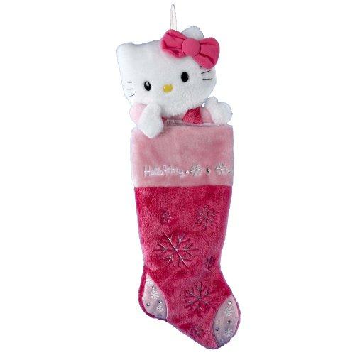 Kurt Adler HK7901 Hello Kitty Pink Plush Head Stocking, 22-Inch
