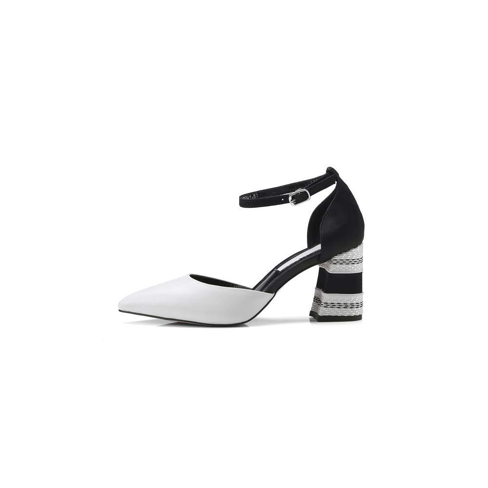WJFGGXHK femmes Party Pumps Haut Talon Carré en Cuir Cuir Pointu Toe Boucle Strap D'été Chaussures à La Main De La Mode Pompes  beaucoup de concessions