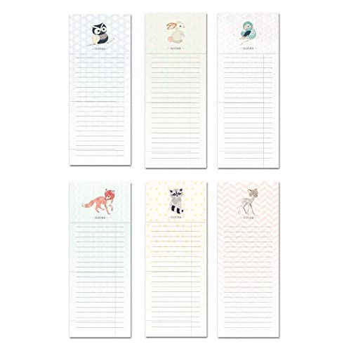 """6 Magnetic Notepads - Woodland Animals Series - 6 Different Designs on 3.5"""" x 9"""" Pads"""
