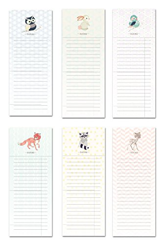 6 Magnetic Notepads - Woodland Animals Series - 6 Different Designs on 3.5