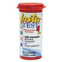 LaMotte Insta-Test 4 Plus, Free Chlorine, Bromine, Alkalinity, pH, Total Hardness Testing (50 strips)