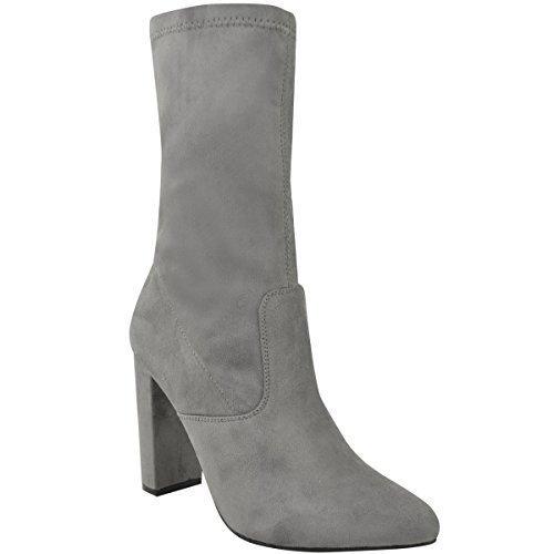 Fashion Thirsty Mujer Lycra Elástica Botines Tacón Alto Famosos Ajustado Pata Zapatos Talla Gris Cuero De Ante