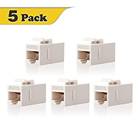 VCE 5-Pack CAT5e Keystone Coupler RJ45 Female to Female Insert Coupler UTP CAT5e Keystone Inline Coupler -White 2 RJ45 cat5e keystone jack fit for RJ45 cat5e/cat5 network cable RJ45 8P8C female/female straight coupler, allows you to extend the length of two Cat5 or Cat5e cables in a easy and simple way Fits all standard keystone wall plates and panels