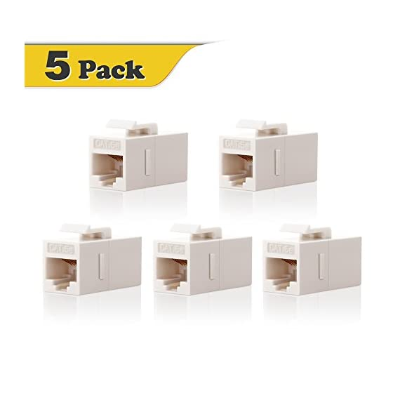 Vce cat5e rj45 keystone coupler insert of 5 pack, cat5 inline coupler female to female utp cat5e coupler keystone… 1 cat5e keystone coupler fit for rj45 cat5e/cat5 network cable, which is perfect for building custom length network cables cat5 utp female to female straight coupler, allows you to extend the length of two cat5 or cat5e cables in a easy and simple way cat5 female to female coupler fits all standard keystone wall plates 、patch panels and surface mount box.