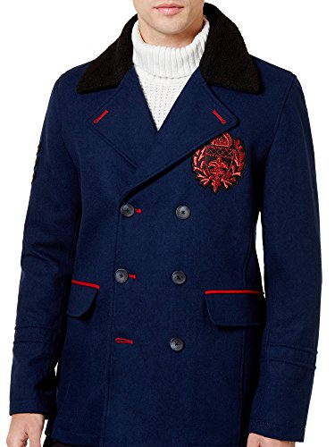 INC Mens Double-Breasted Embroidered Top Coat Navy M from INC International Concepts