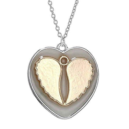 FM42 Glow in the Dark Angel Wings Heart Pendant Necklace GN1079