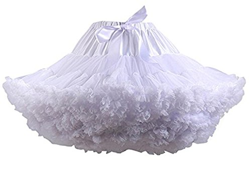- Colyanda Womens 3-Layered Pleated Tulle Petticoat Tutu Puffy Party Cosplay Skirt(White)