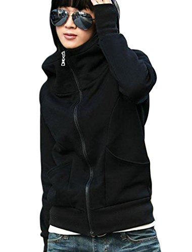 Nagoo Juniors' Funnel Neck Full Zip Hooded Sweatshirt Hoodie with Thumb Hole (L, Black)