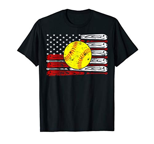 Vintage Softball American Flag Shirt 4th Of July Gifts T-Shirt