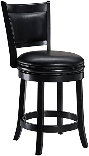 Ball & Cast Jayden Wooden Swivel Bar Stool with Faux-Leather Upholstery, 24-Inch, Midnight Black