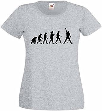 evolución de un Rock Icono Mujer Heather Camiseta con Imagen Negra: Amazon.es: Ropa y accesorios