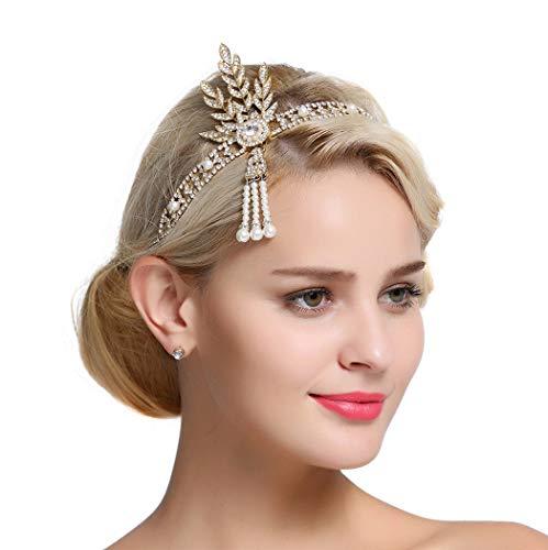 FAIRY COUPLE Art Deco 1920s Flapper Great Gatsby Leaf Bridal Tiara Pearl Headpiece Headband Gold]()