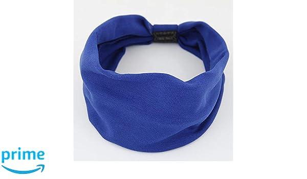 Azul KAEHA SUN-071-02 Pa/ñuelo En La Cabeza Banda para El Cabello de Color Liso Pajarita Diadema de ala Ancha