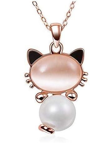 fc2c5bf814b Collier Femmes Bijoux Fantaisie Pendentif opale chaton Enroulé en Cristaux  Autrichiens chaîne plaqué or rose Pour