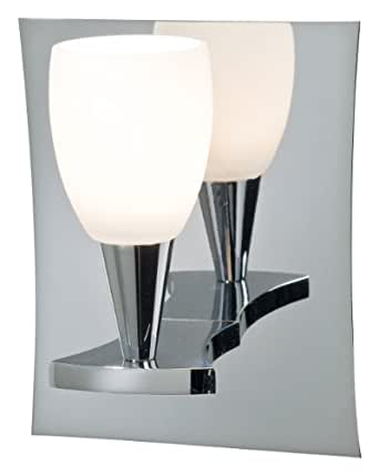 Holtkoetter 5580 CH SW Ludwig Single Light Wall Sconce, Chrome with Satin White Glass