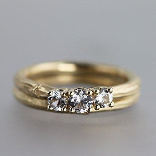 14k Yellow Gold and Sapphire Three Stone Twig Wedding Ring Set