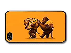 AMAF ? Accessories Gorilla Tattooing Tiger Funny Illustration Orange Background case for iPhone 4 4S