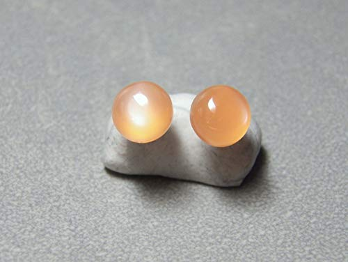 - 7mm Peach Moonstone and sterling silver post earrings