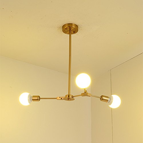 BOKT Mid Century Modern 3-Light Chandeliers Multi-Adjustable Chandelier Lighting Golden Sputnik Kitchen Island Lighting E26/E27 Bulb Sockets by BOKT (Image #2)