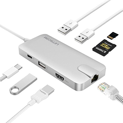USB C Hub, Letscom 8-in-1 USB C Adapter with Gigabit Ethernet, Type C Power Delivery, HDMI Output, SD & MicroSD Card Reader, 3 USB Ports, Portable for MacBook Pro, XPS, Silver
