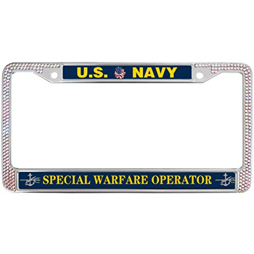 Warfare Operator Navy License Plate Frame Gilter Pink,United States Navy Rhinestone Premium Stainless Steel License Plate Frame for US Canada Vehicles