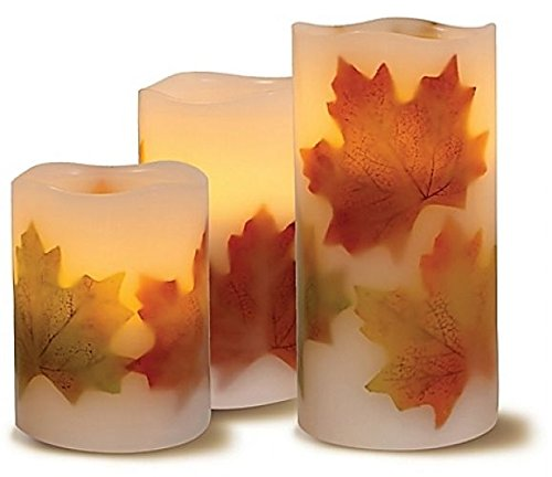 Flameless Candle LED lights with decorative Fall leaves