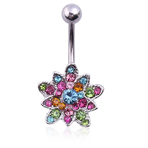 Chinatera Crystals Set Flower Hinged Barbell Dangle Belly Bu