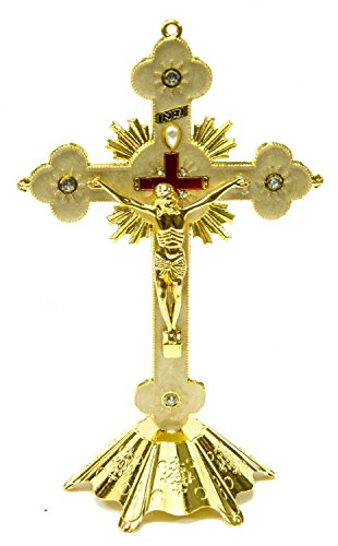 Jesus INRI Christian Cross Statue Standing Crucifix With Crystals 7