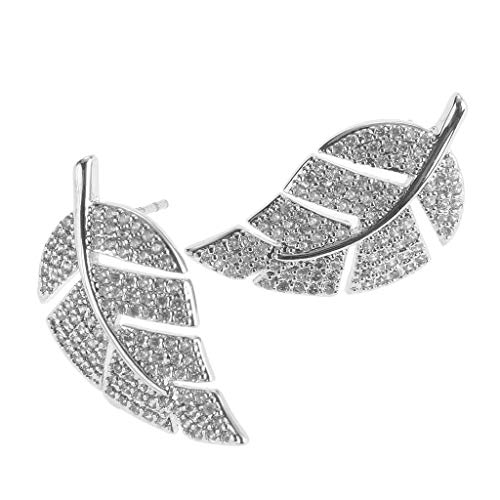 Wedding Party Shiny Crystal Trendy for Women Leaves Earrings Jewelry Studs (Best Solitaire Rings India)