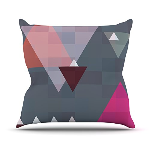 Kess InHouse Suzanne Carter Geo II Gray Geometric Outdoor Throw Pillow, 18