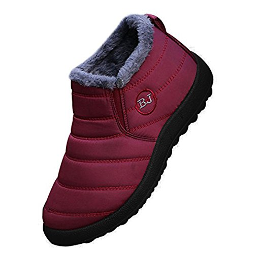 Women's Winter Snow Ankle Boots-Comfort Warm Fur Lining Waterproof Outdoor Slip On Booties Sneakers Red Wine Women 43 (Send Wine In The Mail)
