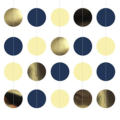 NICROLANDEE Navy Blue Dots Paper Garland Metallic Gold String Hanging Party Garland Backdrop for Nautical Bachelorette Wedding Baby Shower Bridal Shower Birthday Party Decorations 3 Pack/Set